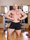 Bodybuilder posing at gym portrait Stock Photography