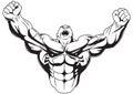 Bodybuilder raises muscular arms