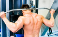 Bodybuilder with simulator doing exercises on the Royalty Free Stock Photography