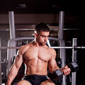 Bodybuilder training in a gym Royalty Free Stock Images