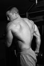 Bodybuilder training in the gym black and white Stock Photos