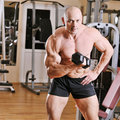 Bodybuilder training at gym portrait Stock Images