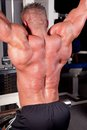 Bodybuilder training his back Stock Photos