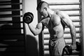 Bodybuilder training with weights Stock Images