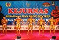 Bodybuilding contest number of athlete showing their muscle at national in solo central java indonesia Stock Images