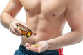 Bodybuilding dietary supplements athletic young man using sports nutrition Stock Photos