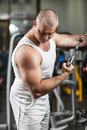 Bodybuilding exercise man doing in the gym Stock Image