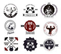 Bodybuilding and fitness gym logos and emblems in the style of the vintage set elements for design bodybuilder man athlete Royalty Free Stock Image