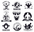 Bodybuilding and fitness gym logos and emblems in the style of the vintage set elements for design bodybuilder man woman athlete Stock Image