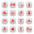 Bodybuilding and fitness icons set Royalty Free Stock Photos
