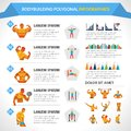 Bodybuilding polygonal infographics with male and female figures and charts vector illustration Stock Image