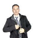Bodyguard man in the white background Royalty Free Stock Photos