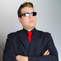 The bodyguard in a suit and tie with sunglasses Stock Photography