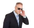 Bodyguard wearing sunglasses