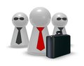 Bodyguards case and play figures with tie and sun glasses d illustration Stock Photos