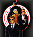 Bodyguards three protect businessman vip vector illustration Stock Images