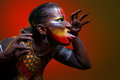 Bodypainting. Woman painted with ethnic patterns Royalty Free Stock Photo