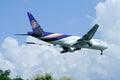 Boeing er hs tjs chiangmai thailand august of thaiairway landing to chiangmai airport from bangkok suvarnabhumi thailand Stock Photography