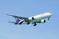Boeing er hs tjs chiangmai thailand august of thaiairway landing to chiangmai airport from bangkok suvarnabhumi thailand Royalty Free Stock Images