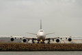 Boeing jumbo jet in front view large airliner Royalty Free Stock Photography