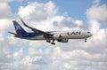 Boeing lan airlines landing at miami international airport usa october Royalty Free Stock Image