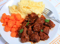 Boeuf bourguignonne meal from above Royalty Free Stock Photo