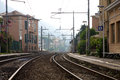 Bogliasco train station view of the railway and the in early in the morning Royalty Free Stock Photography