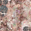 Bohemian gypsy floral antique vintage grungy shabby chic artistic abstract graphical background with roses Royalty Free Stock Photo