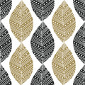Bohemian seamless pattern with black and gold ethnic leaves. Vector textile swatch or packaging design. Tribal design Royalty Free Stock Photo