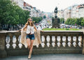 Bohemian woman standing in the historical center of Prague Royalty Free Stock Photo