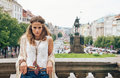 Bohemian woman tourist standing on Wenceslas Square, Prague Royalty Free Stock Photo