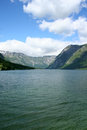 Bohinj lake with mountains in background slovenia Royalty Free Stock Photography
