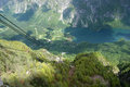 Bohinj lake view from rope way cabin on in slovenia Stock Image
