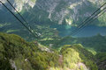 Bohinj lake view from rope way cabin on in slovenia Stock Photo