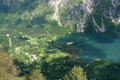Bohinj lake view from rope way cabin on in slovenia Stock Images