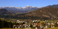 Bohinjska bistrica in slovenia triglav with the highest mountain Royalty Free Stock Photo