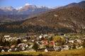 Bohinjska bistrica in slovenia triglav with the highest mountain Stock Images