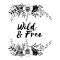 Boho chic image Flowers, roses, feathers Fashion illustration Boho style For t-shirt, invitation, posters