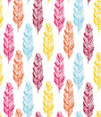 Boho feather seamless vector pattern Royalty Free Stock Photo