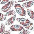 Boho Feather vector seamless repeat pattern, ethnic tribal ornament, detailed illustration