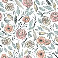 Boho floral design. Pink peonies, branches and feathers. Vector seamless pattern, wallpaper or wedding gift paper. Royalty Free Stock Photo