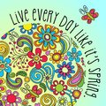 Boho floral poster, card or banner with inspiring quote Royalty Free Stock Photo