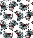 Boho flower bloom vector all over print. Seamless repeating pattern swatch. Red black bohemian folk floral background. Hand drawn