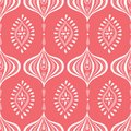Boho Monochrome Handdrawn Ogee and Diamonds Vector Seamless Pattern. Retro Coral Elegant Traditional Background