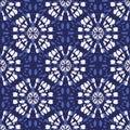 Boho Monochrome Indigo Blue Tie-Dye Shibori Mirrored Sunburst Mandala Background Vector Seamless Pattern Royalty Free Stock Photo