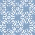 Boho Monochrome Jean Blue Tie-Dye Shibori Mirrored Sunburst Mandala Background Vector Seamless Pattern