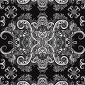 Boho ornament, texture. Monochrome. Ethnic black and white ornament. Abstract floral plant natural Seamless pattern. Vintage decor Royalty Free Stock Photo