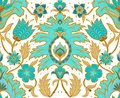 Boho Seamless Floral Tile - Turquoise and Mustard Light