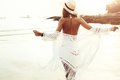 Boho styled model on the beach Royalty Free Stock Photo