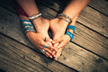 Boho summer bracelets anklets rings on girl feet and hands outdo Royalty Free Stock Photo